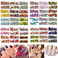 50 Sheet/set Flower Nail Art Sticker Water Transfer French Acrylic UV Gel Polish Tips Watermark Decal DIY Manicure Decoration