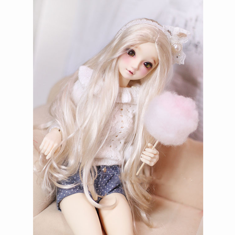 Bybrana 1/3 1/4 1/6 Giant Dolls BJD Doll Wig Imitation Mohair Soft Gold Long Hair