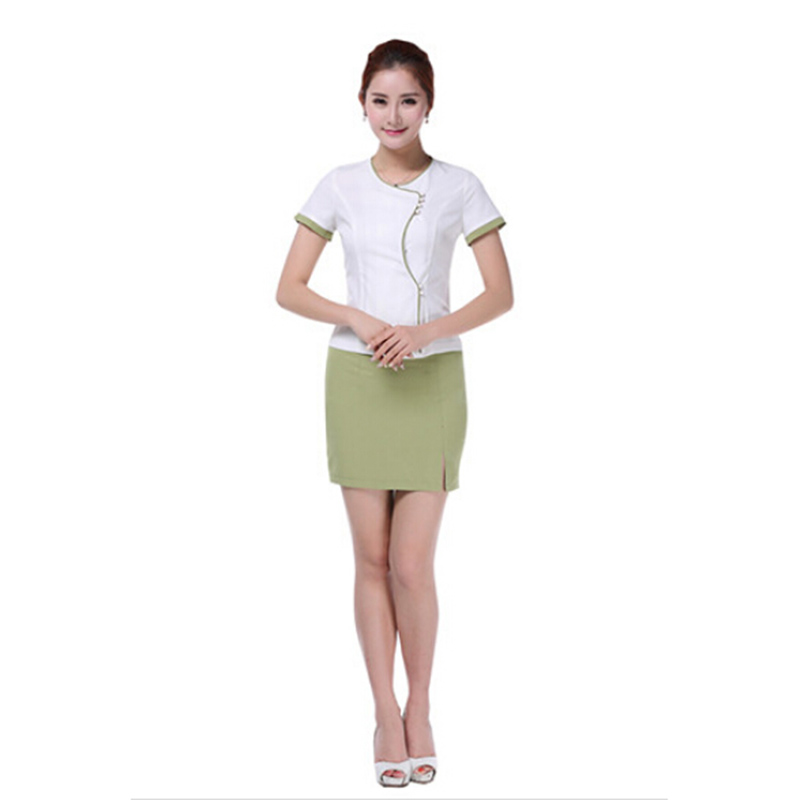 Free shipping hotel front desk solid work uniform beauty for Spa uniform wholesale