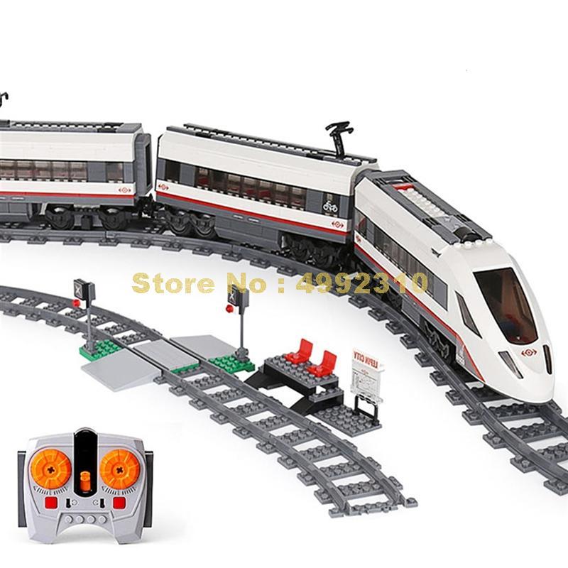 28031 628 sztuk technic szybki pociąg pasażerski pilot zdalnego sterowania rc samochodów ciężarowych 3 figurki klocki 60051 cegły zabawki w Klocki od Zabawki i hobby na  Grupa 1