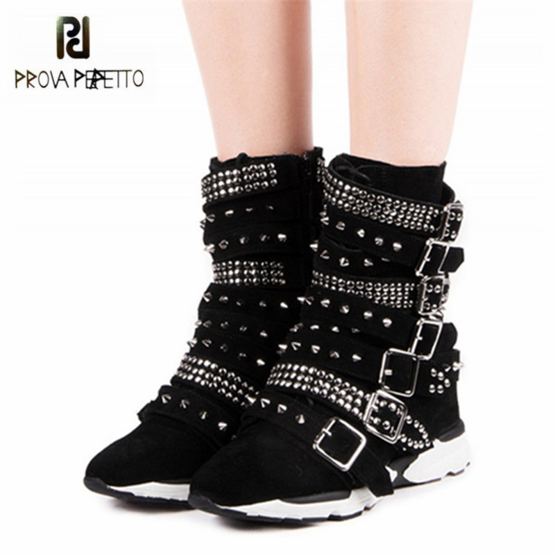 Prova Perfetto Black Suede Women Ankle Boots Rivets Studded Martin Boots Straps Platform Rubber Botas Mujer Casual Flat Shoes prova perfetto black ankle boots for women rivets studded flat autumn botas mujer genuine leather platform rubber martin boots