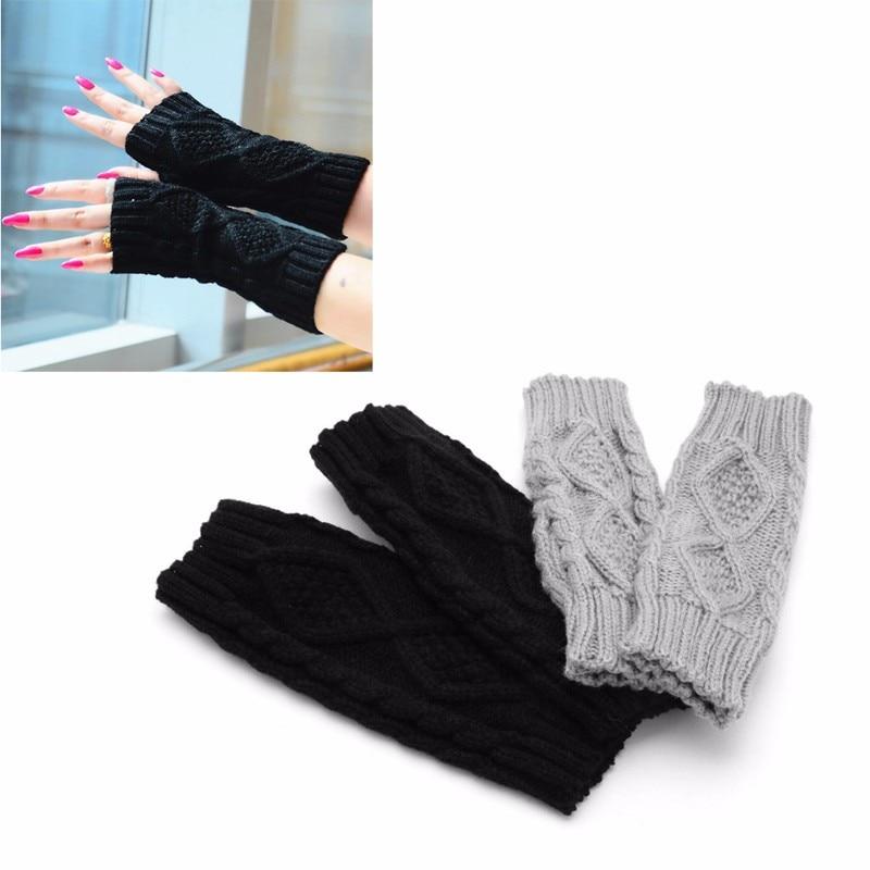 Women Winter Wrist Arm Hand Warmer Knitted Long Fingerless Gloves Mitten