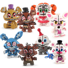 8 pcs/set Five Nights At Freddys Golden Freddy Foxy Bonnie Chica foxy Mini Action Figure Toys brinqudoes Head Movable