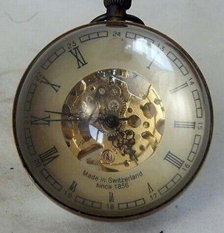 Collectibles Chine VIEUX LAITON VERRE montre de poche BOULE de travail mécanique horloge