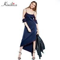 Kinikiss Elegant Ruffle Party Dress Women Dark Blue Off Shoulder Spaghetti Strap Sexy Dresses Irregular Satin