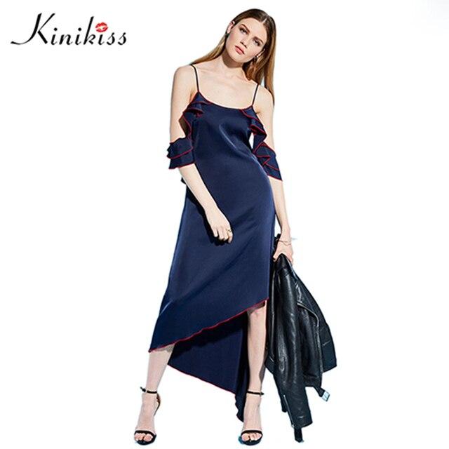 b4d645e954f Kinikiss Elegant Ruffle Party Dress Women Dark Blue Off Shoulder Spaghetti  Strap Sexy Dresses Irregular Satin Maxi Beach Dress