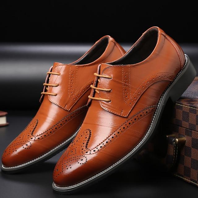 Для мужчин Роскошная Брендовая обувь на танкетке обувь с перфорацией типа «броги» натуральная кожа мужская обувь дизайнерская обувь мужская обувь Большие размеры 38-48