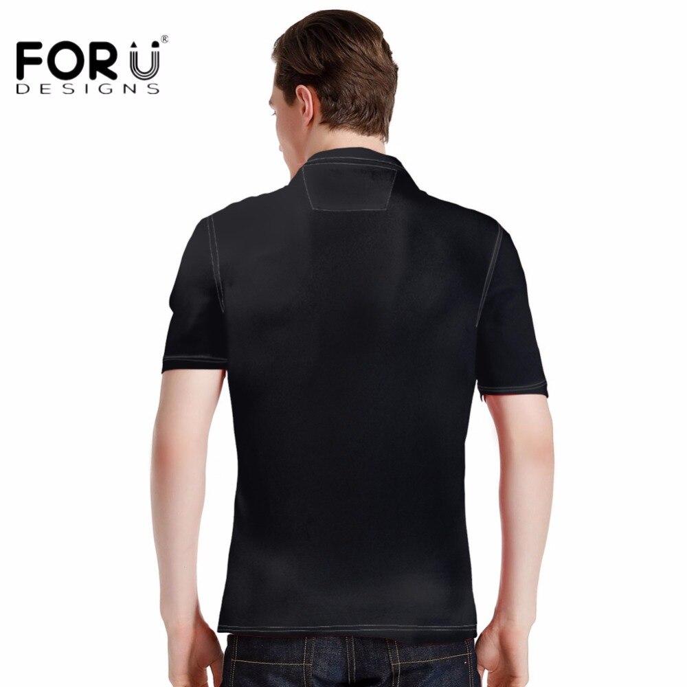 Forudesigns New Arrival Men Polos Shirt Black Punk Skulls Print