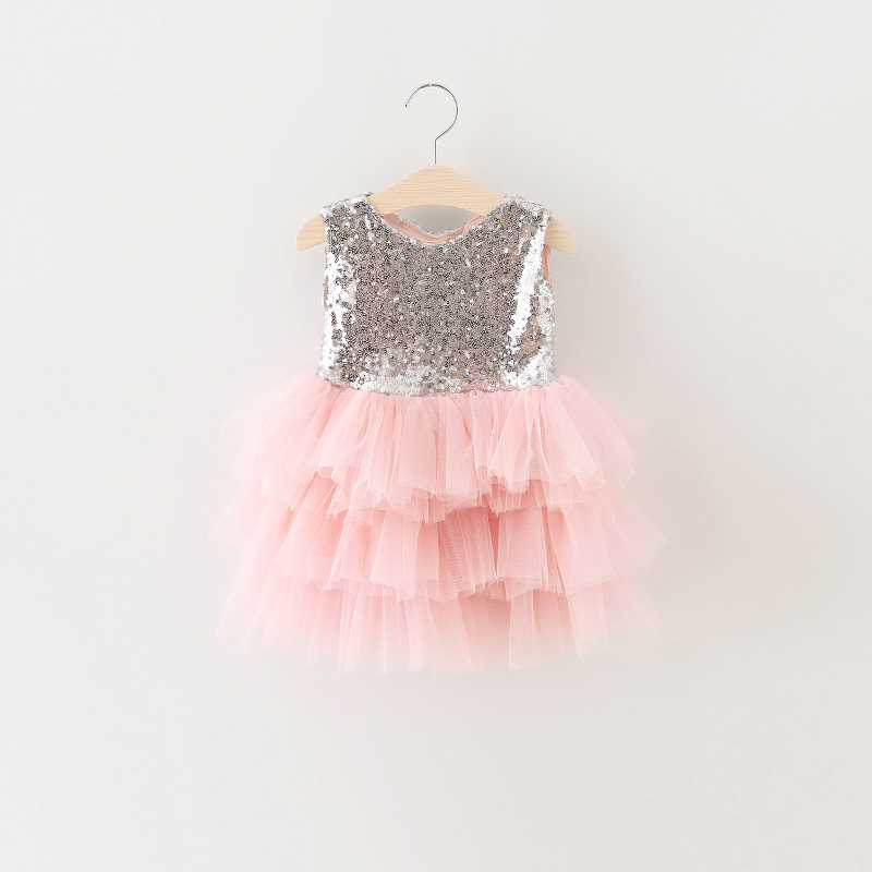 2017 Baby Girl Baptism Dress Toddler 1 Year Birthday Party Girls Dresses Sparkle Sequins Tops Tulle Events Infant Kids Clothing