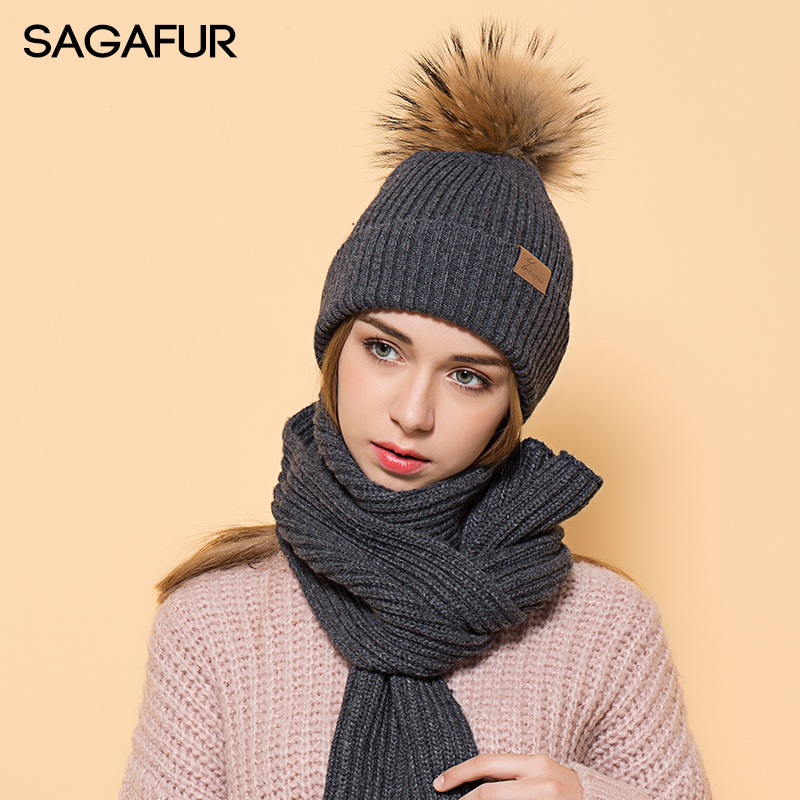 Winter Warm Hats Scarf Sets Solid Beanies For Girls Fashion Soft Fur Pompoms Women's Hat Female Scarf Beanies With Leather Label