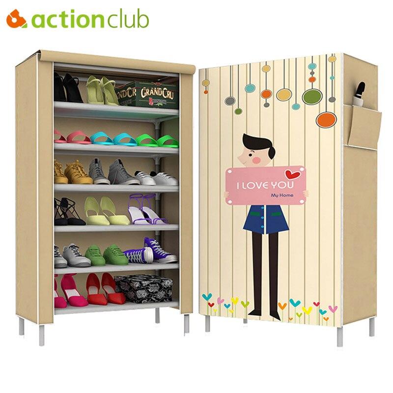 Actionclub Simple Fashion Cartoon Multi-store Shoes Cabinet Non-woven Cloth Dustproof Shoe Shelf 3D Pattern Shoe Organizer Rack