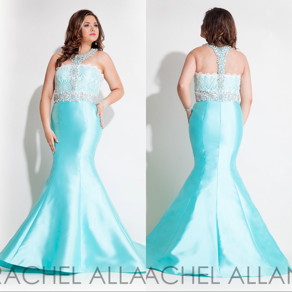 Long Light Blue Plus Size Prom Dresses 2017 Floor Length Beaded ...