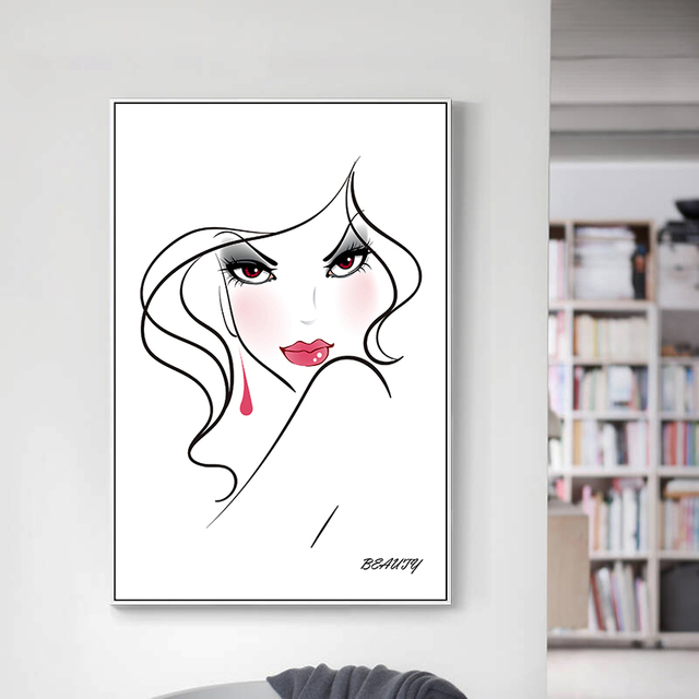Art Design Sexy Gilr Canvas Posters and Prints One Line Drawing - poster on line