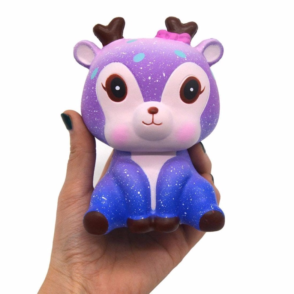 Cute Kawaii Cartooon Deer Cream Scented Squeeze Squishy Strap Funny Anti Stress Novelty Antistress Toy Christmas Birthday Gift