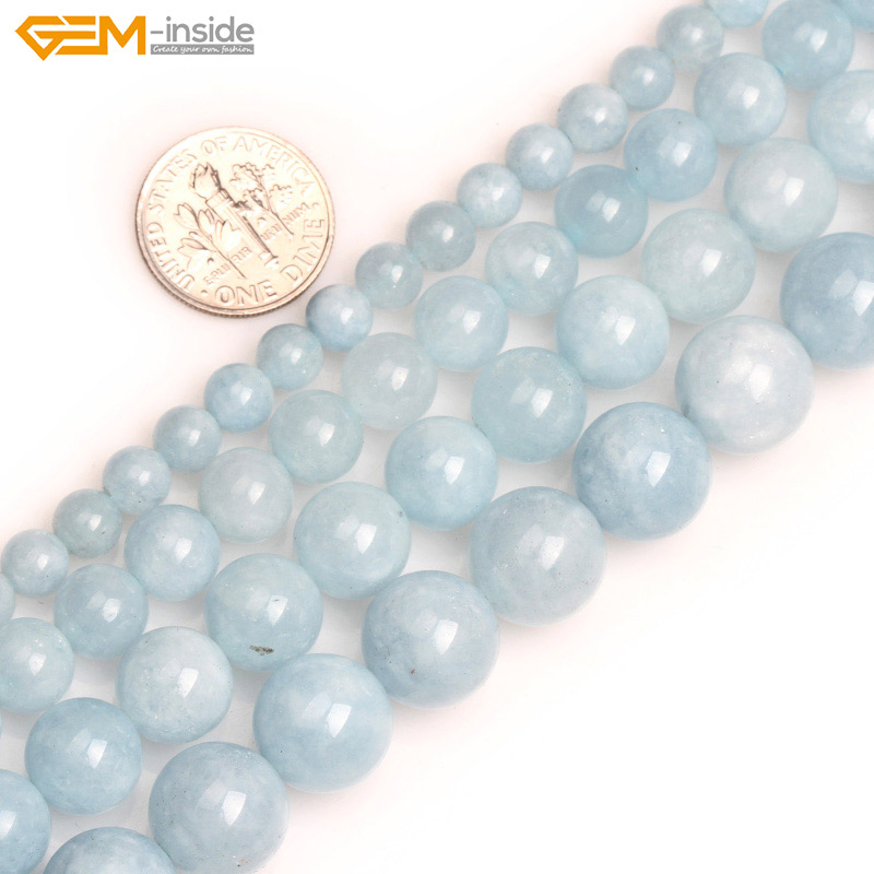 Beads Jewelry-Making-Beads Aquamarine-Color Natural Stone Gem-Inside Blue Round Smooth