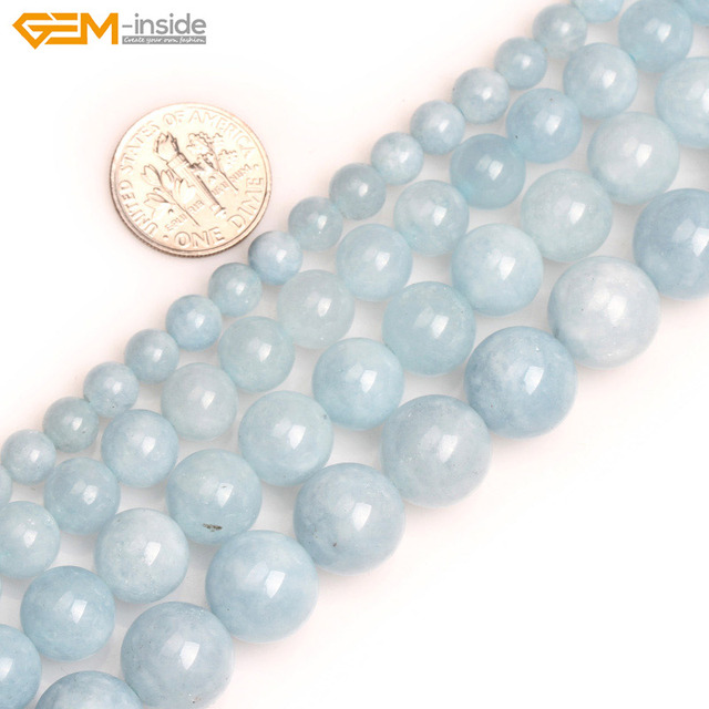 cb56e9869 Gem inside Natural 6 12mm Round Stone Beads Smooth Aquamarine Color Blue  Jades Beads For Jewelry Making Beads 15inch DIY Beads-in Beads from Jewelry  ...