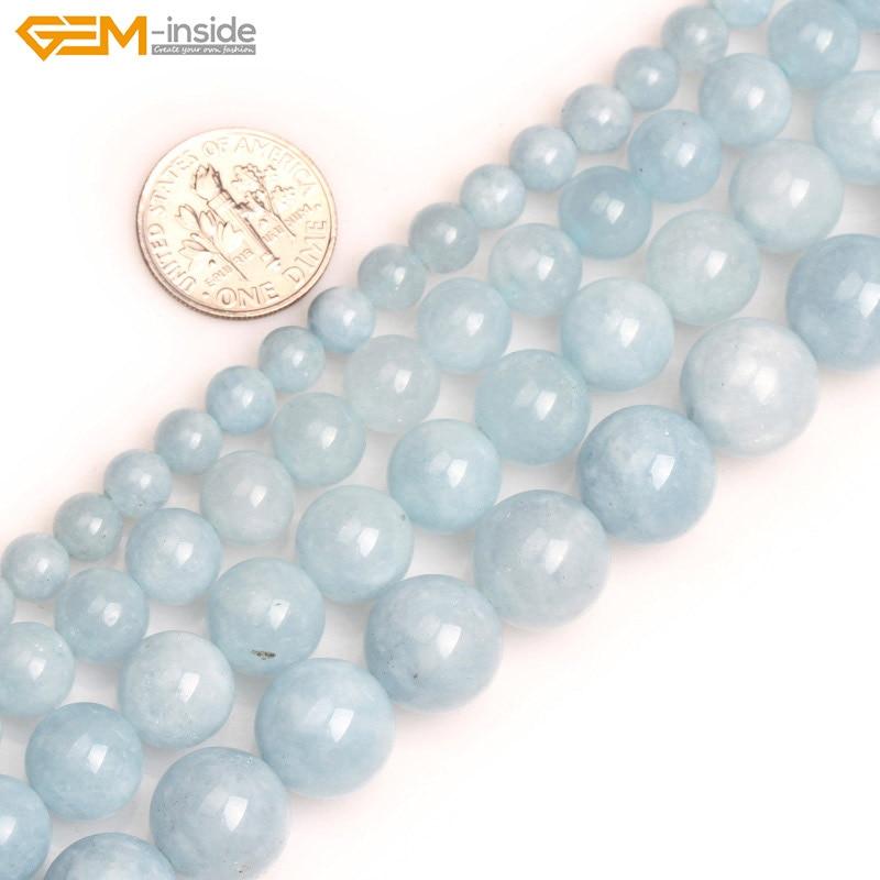 Gema Natural 6-12mm piedra redonda Lisa Color aguamarina azul Jades perlas para hacer joyería cuentas 15 pulgadas DIY