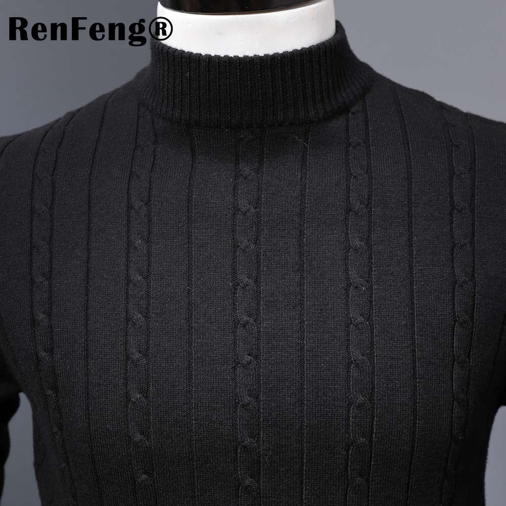 Korean Stretched Thick Warm Men Turtleneck 2018 Winter Mens Sweaters Pullovers Knit Long Sleeve Cashmere Sweater Male Jumper Top (7)