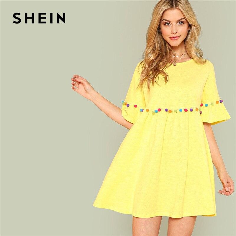 SHEIN Yellow Ruffle Vacation Boho Bohemian Casual Beach Women Dresses Pompom Embellished Flounce Sleeve Summer Dress