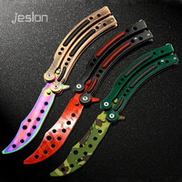 Jeslon CS GO Karambit Folding Knife Butterfly Fade Colorful Color Game Knife Dull Blade No Edge