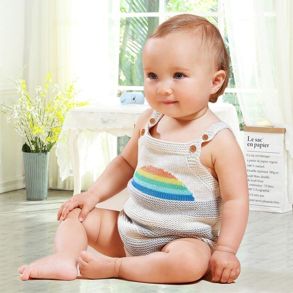 Летняя одежда для девочек sunsuits Модные Радуга шаблон новорожденных мальчиков Одна дет ...