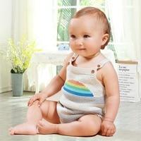 Summer Clothes For Girls Sunsuits Fashion Rainbow Pattern Newborn Boys One Piece Bodysuits Knit Children Overalls