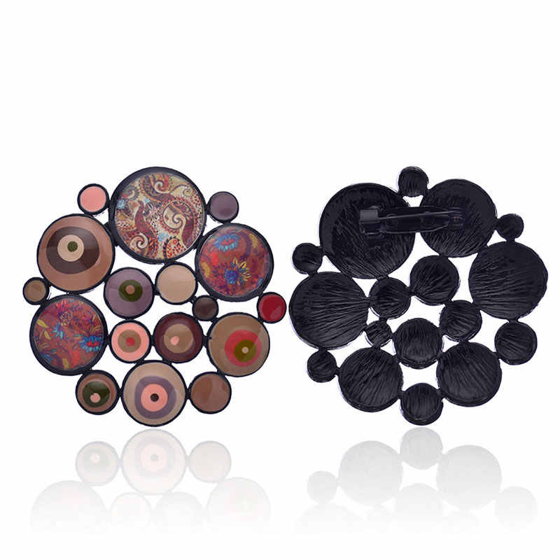 2019 novo esmalte broche pino moda liga redonda broches emblema unissex jóias charme colar roupas acessórios festa da menina presente