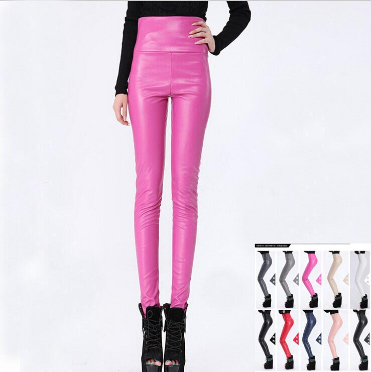 10 COLOR! 2016 New Faux Leather Leggings For Women Sexy High Waisted Woman Pants Casual Skinny Panty Trousers Black,Red,White.