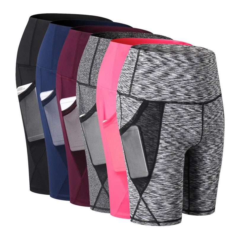 Shorts Elastic-Pants Women Running Fitness Gym with Mesh-Pocket Summer Outdoor Yoga High-Waist