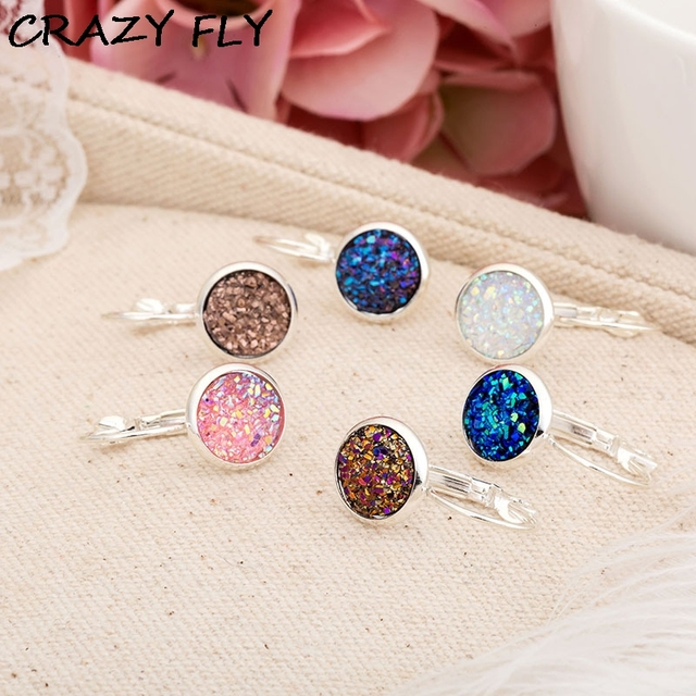 Crazy Fly 2018fashion Women Earrings Drusy Druzy Natural Druse Stud Earring Silver For Party