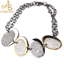 Aibeiou New Fashion Vintage Women's New Design Shining Imitation Diamonds The oval Styles Bracelet