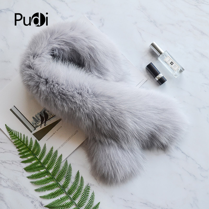 SF819 Pudi real fox fur   scarf     wraps   2018 new arriving natural fox fur   scarves   shawls pashmina natural grey white silver fox