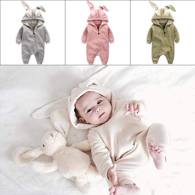 cbc6040189e2 2018 Newborn Baby Boys Girl Boy 3D Ear Rabbit Rompers Cotton Zipple ...