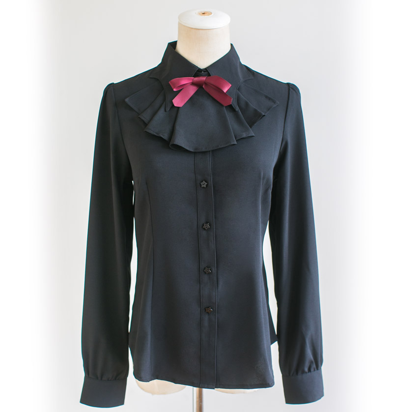 Dolly Delly Little Devil Batwing Collar Harajuki Gothic Lolita Long Sleeve Chiffon Black/White Girl's Shirt with Bow