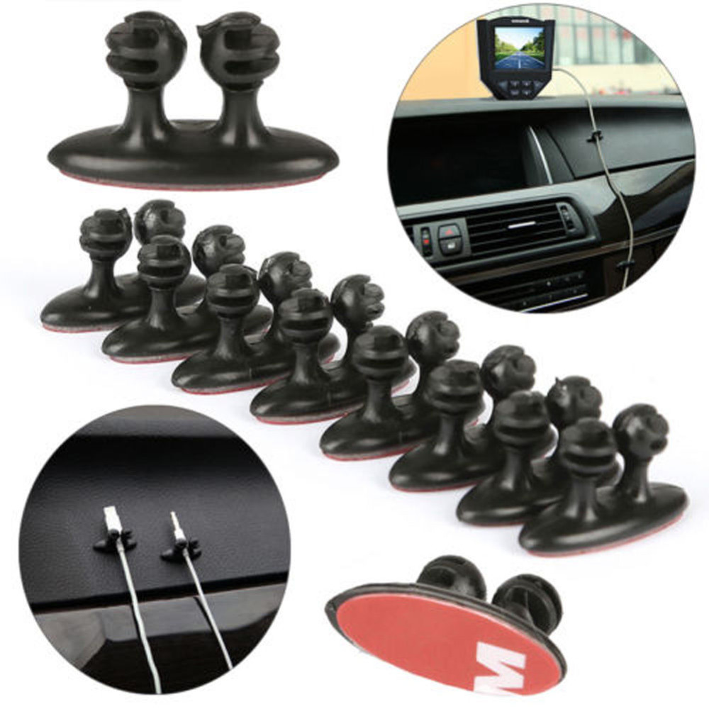 16PCS/LOT Car Wire Cord Clip Cable Holder Tie Fixer Organizer Drop Self-Adhesive Clamp Cable Clips