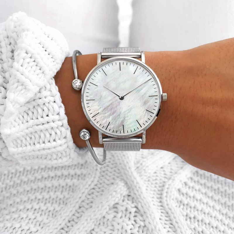 SANSHOOR Fashion Quartz Watch Stainless Steel Mesh Armband With White Shell Fit