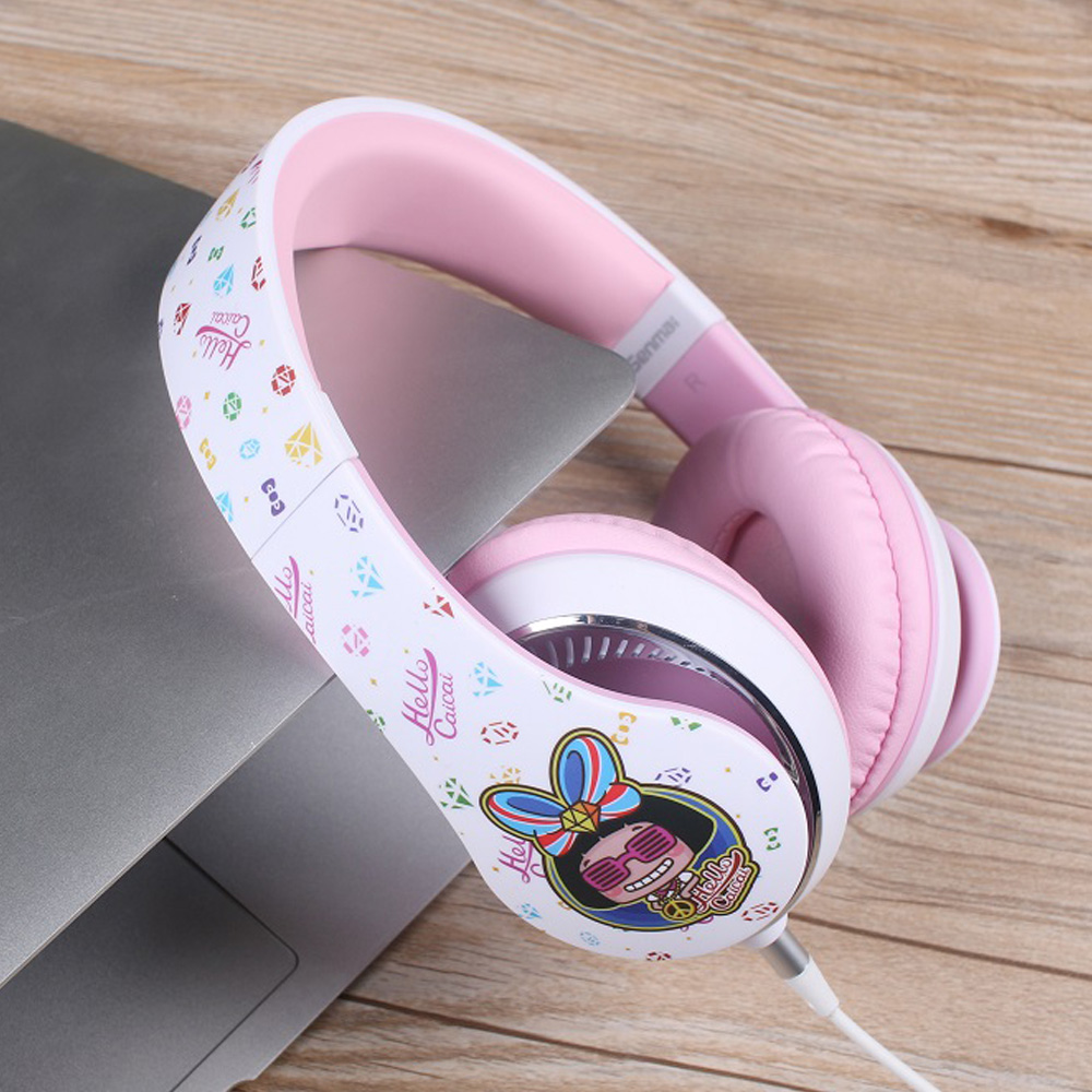 SOE Pink HIFI Music Headphones For Girls Casque Audio Headphones For Computer Headset Fo ...