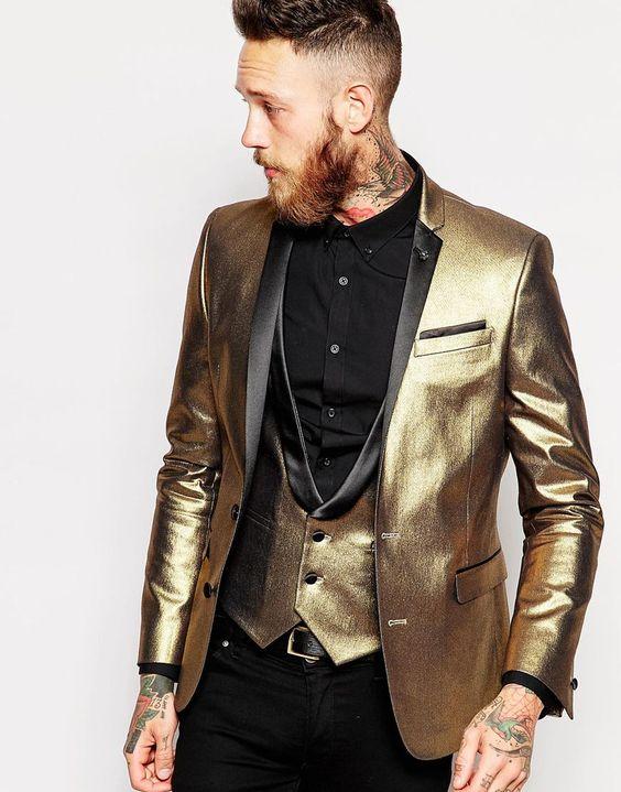 3 Piece Shiny Tuxedos Men Slim Fit Gold Suits Notch Lapel Groomsmen Tuxedos Groom Men Wedding Suits (jacket+pant+vest)