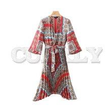 CUERLY paisley print midi dress V neck bow tie sashes pleated design elastic waist irregular retro female casual dresses