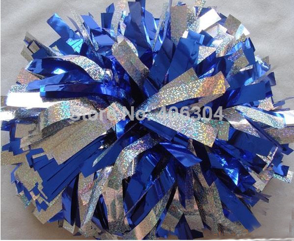 Without fading Cheerleading Metallic laser hologram silver gold pompom with baton handle fadeless 150G,45cm ballroom costume