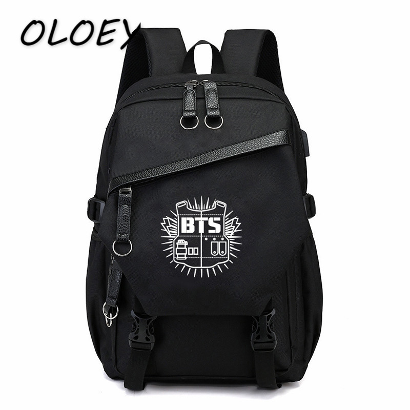 High Quality BTS Canvas Backpack Bangtan Boys Backbag For Teenager  Schoolbag Army Book Bag Travel Laptop Bag -in Backpacks from Luggage   Bags  on ... 4bf186c7affaf
