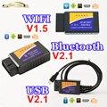 Bluetooth USB WIFI ELM327 OBD2/OBDII DEL OLMO 327 V1.5/V2.1 para Android IOS Escáner Herramienta de Diagnóstico Auto
