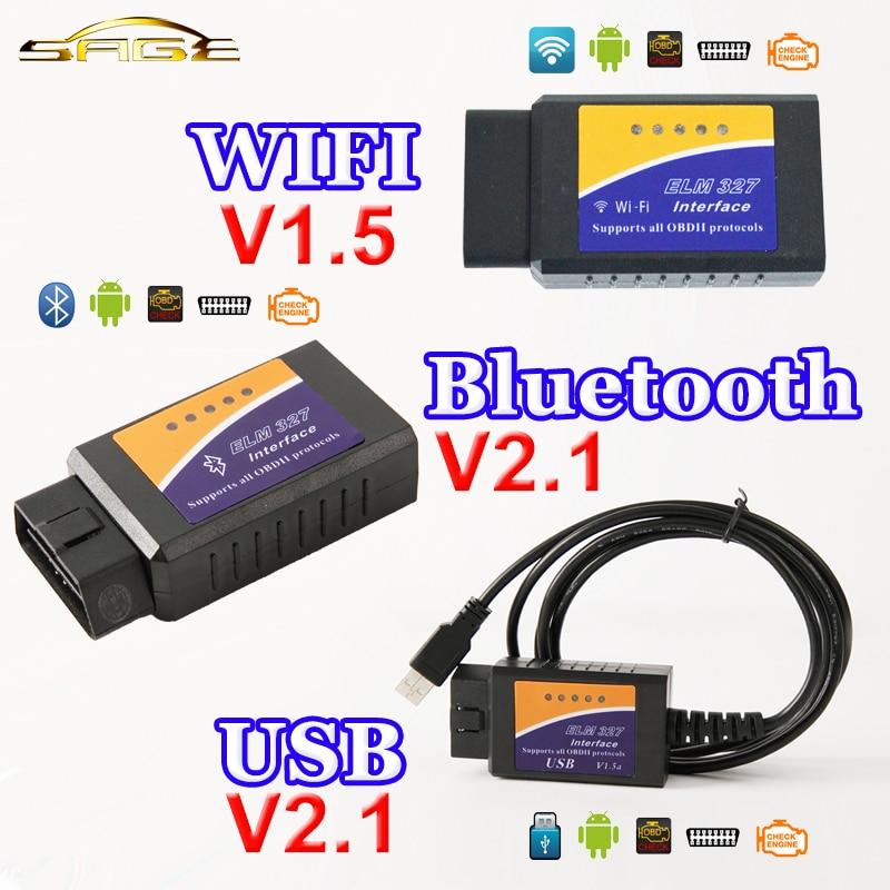 Viecar Bluetooth USB WiFi ELM327 OBD2/OBDII Elm 327 V1.5/V2.1 para Android IOS escáner herramienta de diagnóstico auto