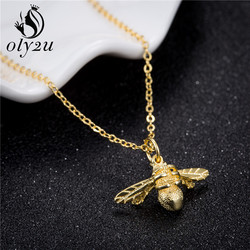 Oly2u Fashion New High Quality Cute Bee Necklace Gold Color HoneyBee Pendant Necklace For Women Valentine's Day gifts