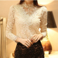 HOT Women's Sexy Casual OL beading Long Sleeve Lace crochet Tops femme Shirt Blouse sheer turtleneck hollow out top blusas CB45