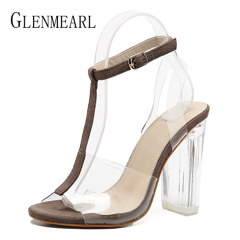 Sexy Women Sandals Spring Summer High Heels Shoes Woman Thick Heels T-Strap Party Wedding Ladies Sandals Shoes Plus Size 35-40 new arrival black brown leather summer ankle strappy women sandals t strap high thin heels sexy party platfrom shoes woman