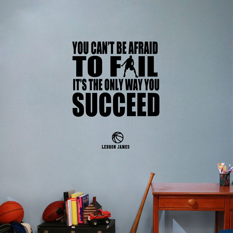 basketball and success quotes vinyl wall sticker lebron james