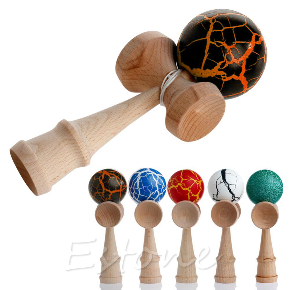HBB 1PC Children Safety Crack Pattern Toy Bamboo Kendama Best Wooden Educational Toys Kids Toy Gift