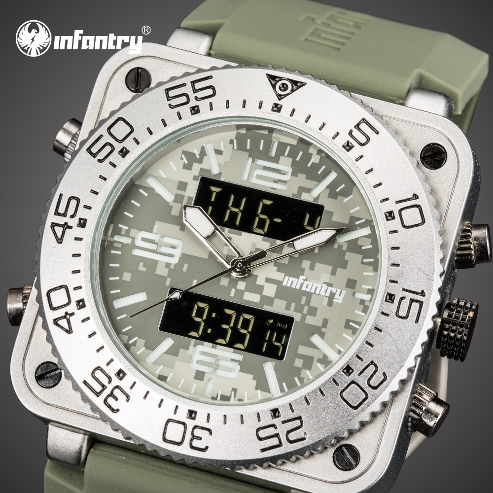 INFANTRY Mens Watches Top Brand Luxury Analog Digital Military Watch Men Square Big Dual Time Watches for Men Relogio MasculinoINFANTRY Mens Watches Top Brand Luxury Analog Digital Military Watch Men Square Big Dual Time Watches for Men Relogio Masculino