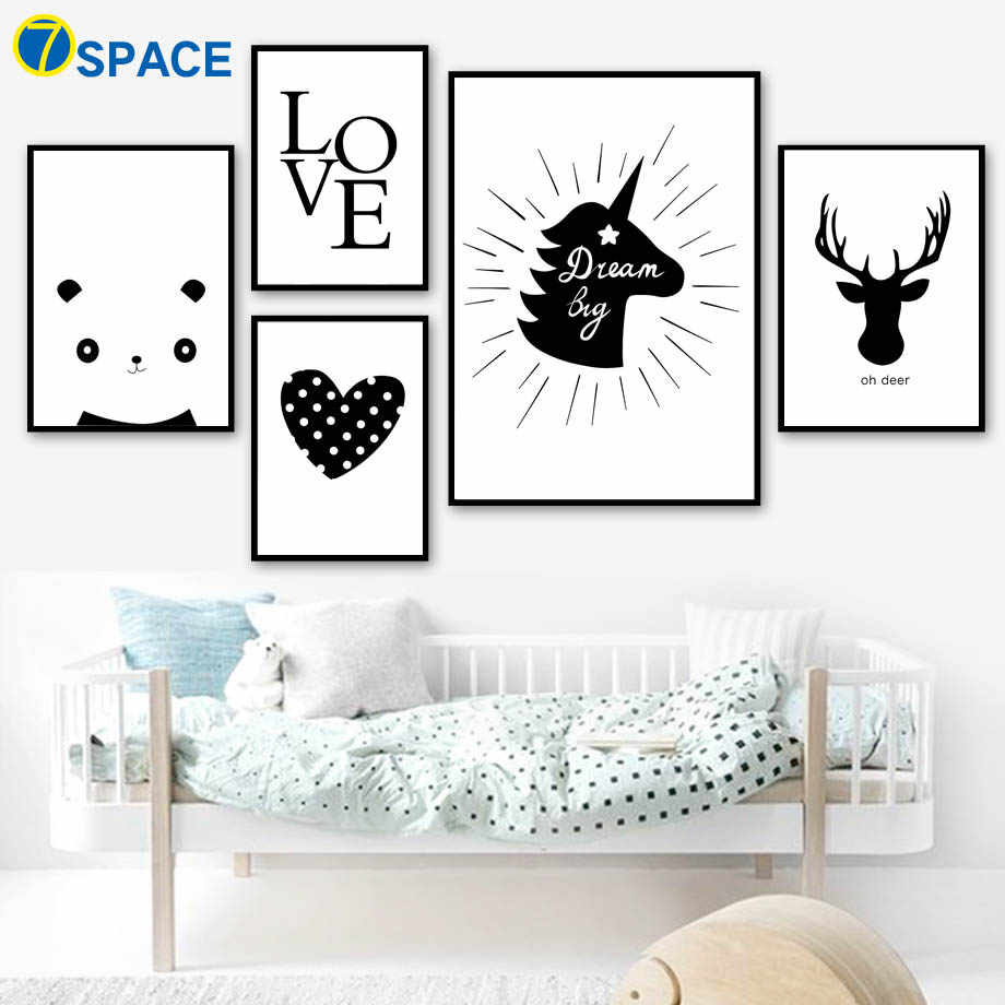 Cartoon Deer Unicorn Panda Heart Nordic Posters And Prints Wall Art Canvas Painting Black White Wall Pictures Kids Room Decor